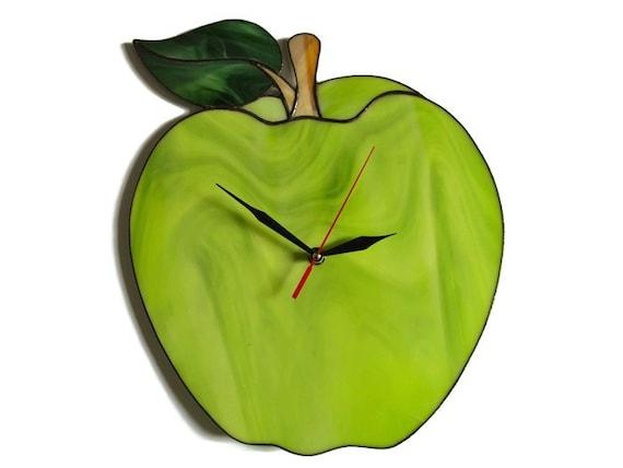 Lime Green Apple Clock, Food Clock, Modern Wall Clock, Unique Wall Clock,  Bright Apple Kitchen Decor, Decorative Clock