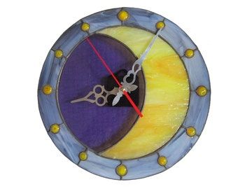 Crescent Moon Wall Clock - Stained Glass Lunar Wall Hanging - Bohemian Celestial Wall Décor – Unique Housewarming or Wedding Gift