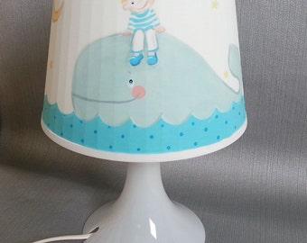 Kinderzimmer Lampe, LAMPAN, Babyzimmer Lampe, Wal, nursery lamp children's room lamp handpainted