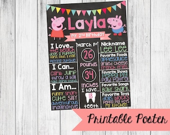 Peppa Pig Birthday Custom Chalkboard Poster Sign - 1st, 2nd, 3rd, 4th Birthday Printable