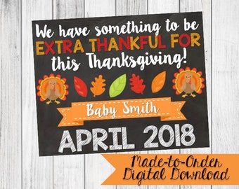 Thanksgiving Pregnancy Announcement Sign {Digital Download Made to Order}
