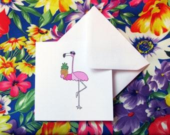 Illustrated flamingo card