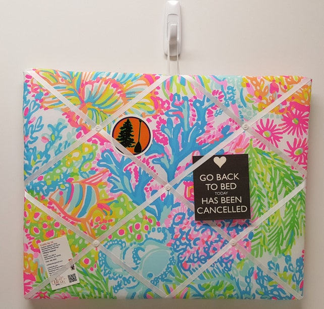 Memo Board Made With Lilly Pulitzer Fabric Etsy Extraordinary Lilly Pulitzer Memo Board