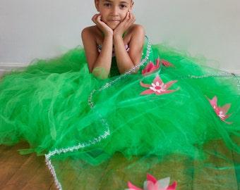 Clearance Organza Chiffon Cape sheer sleeves /& yoke-READY-TO-SHIP Girl/'s sz8 Fantasy gown like Elsa/'s green dress w pink Flower Appliques
