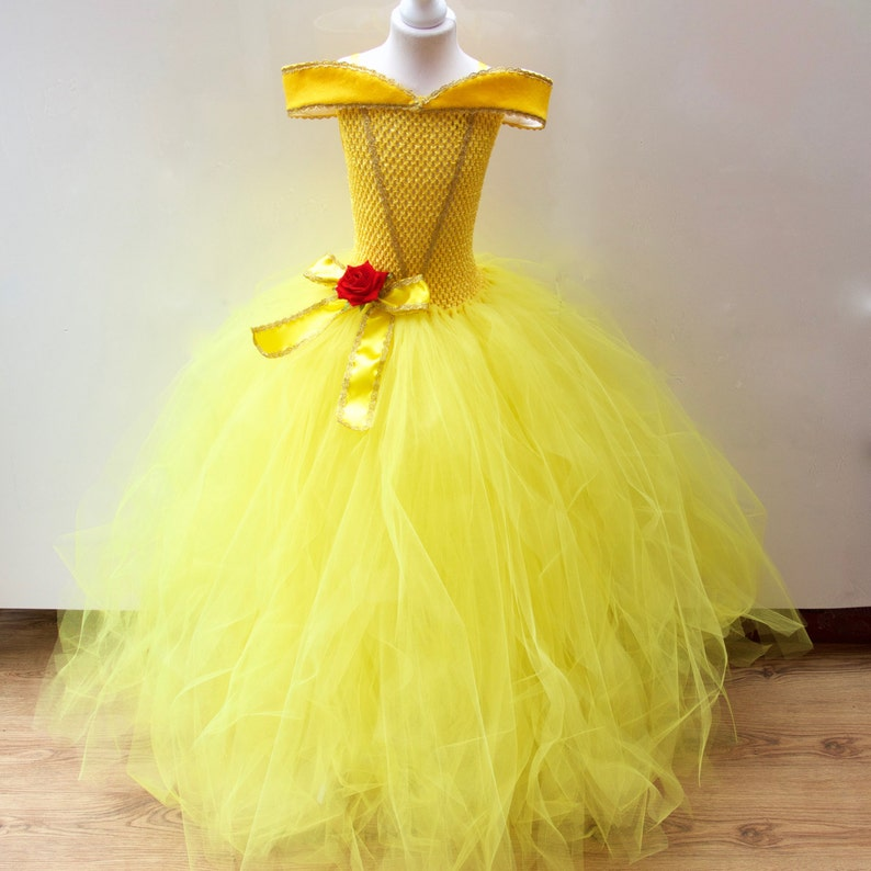 Disney Belle Beauty The Beast Inspired Gown Prom Belle Tutu Dress Free Hair Clip Brooch Age 3 Up To 10 Yrs