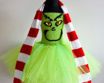 Mr Grinch Christmas Inspired Dress with FREE Scarf made to measure Age 3yrs - 12yrs