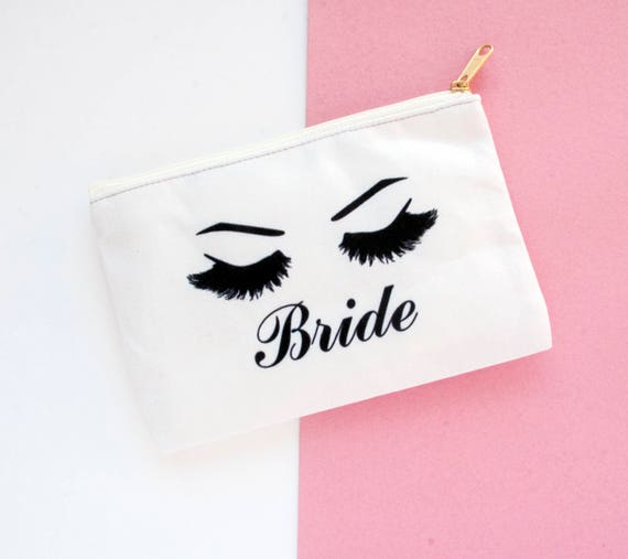 Bride Makeup pouch, makeup bag, eyelashes, lashes, fashion, cute, bride,  bride squad, bridal, bridesmaid, funny, quote, love, custom bag