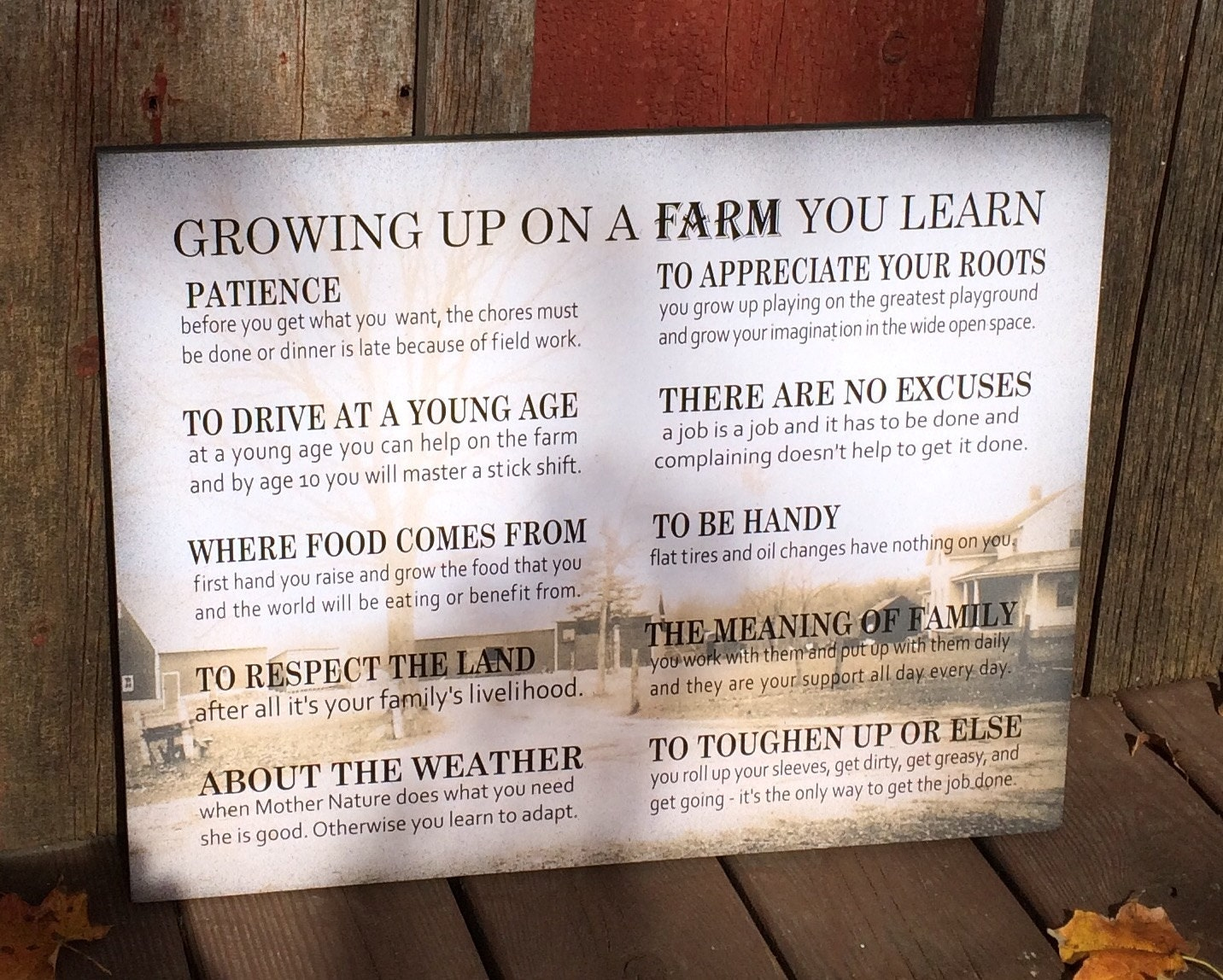 Mother\'s Day Gift Custom Photo Growing Up On A Farm Values Wood Sign ...