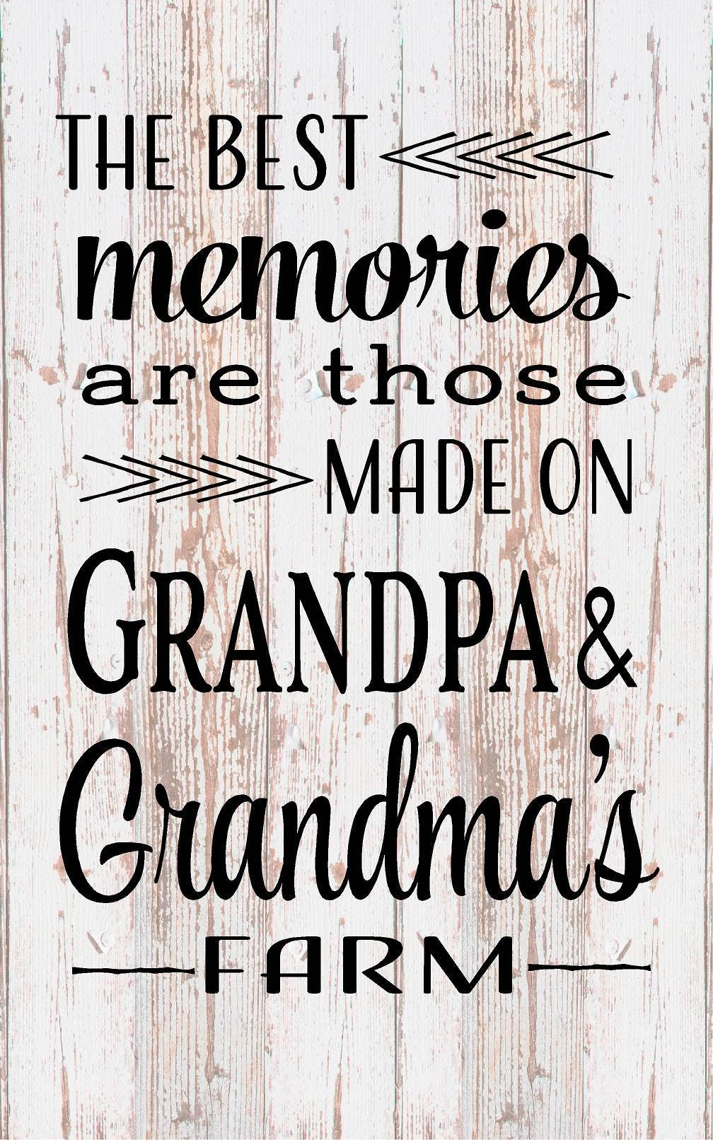Best Memories Grandma Grandpa Farm Wood Sign Canvas Wall Art ...