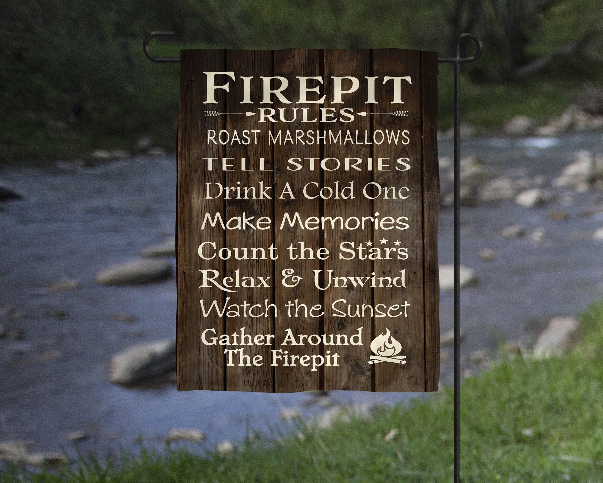Firepit Rules Garden Flag Cabin Backyard Decor Christmas Gift Secret ...