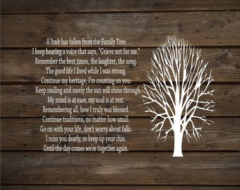 Sympathy Gift A Limb Has Fallen From Our Family Tree Wood Sign Canvas Wall Decor  Christmas Gift, Family, Parent Memorial Bereavement Gift