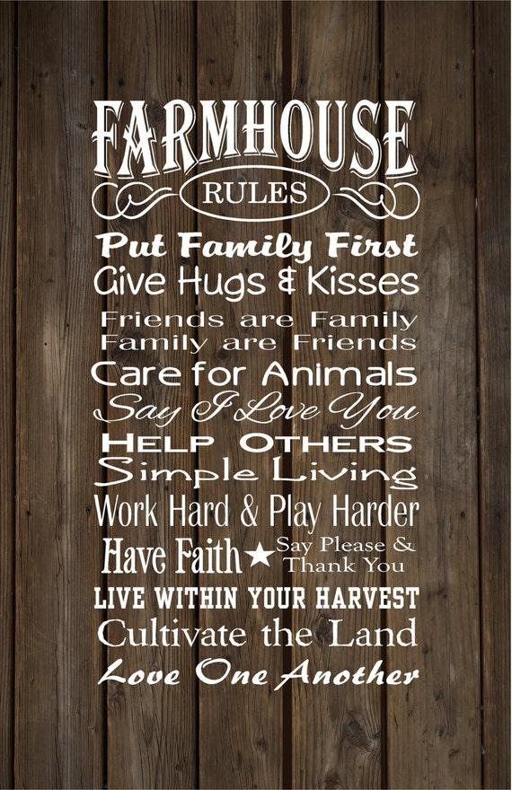 Farmhouse Rules Farm Rules Wood Sign Canvas Wall Art