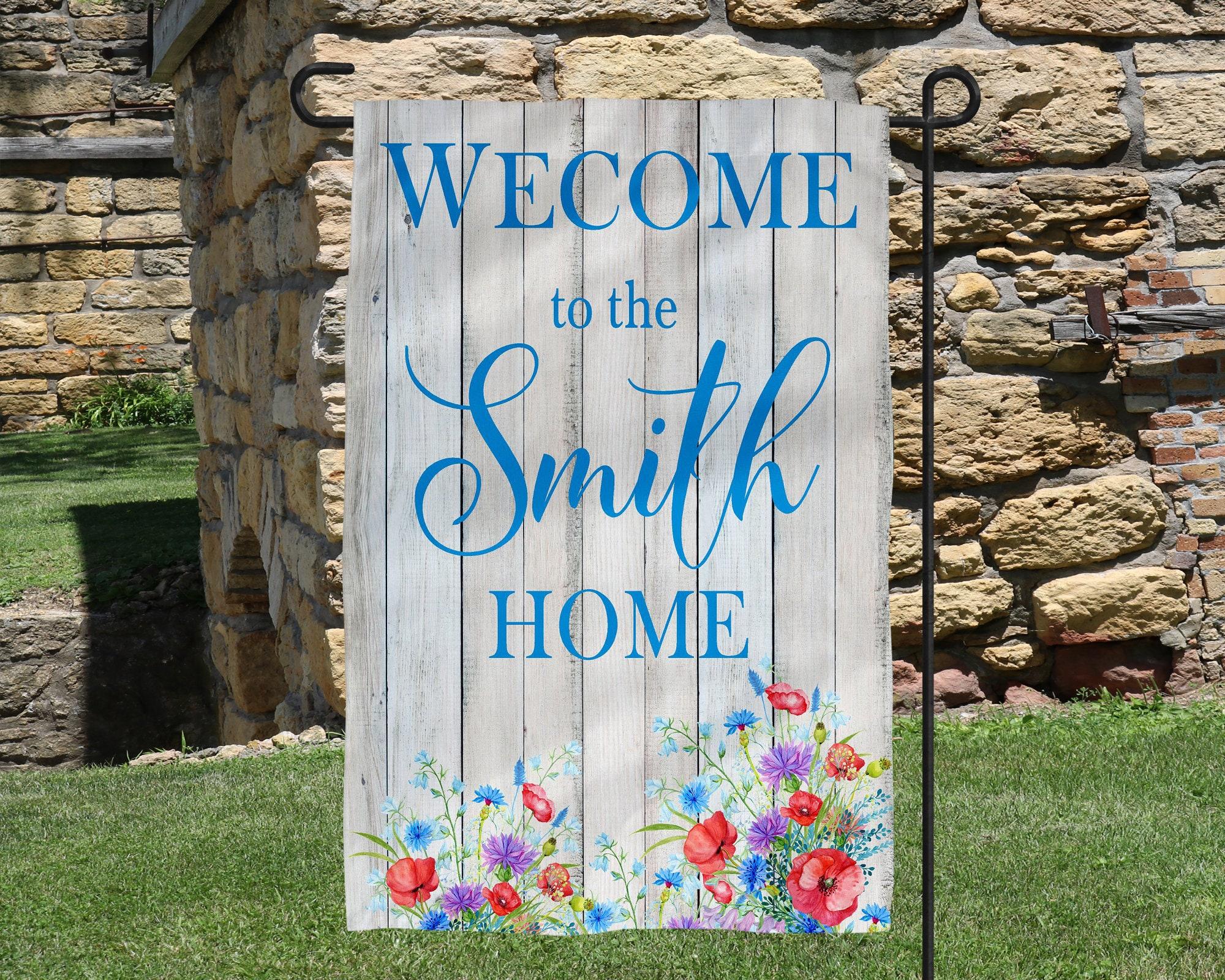 Name Welcome Home Floral Garden Flag Personalized Garden Flag Wedding Gift  Motheru0027s Day Gift Summer Garden Garden Art Name Sign