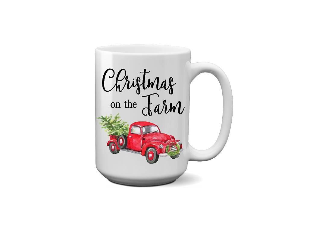 Christmas On The Farm Red Truck Coffee Mug Christmas Gift Thank You ...