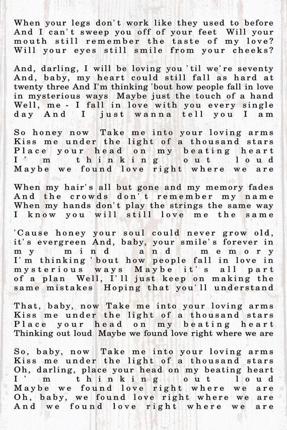 wedding gift thinking out loud ed sherran lyrics personalized