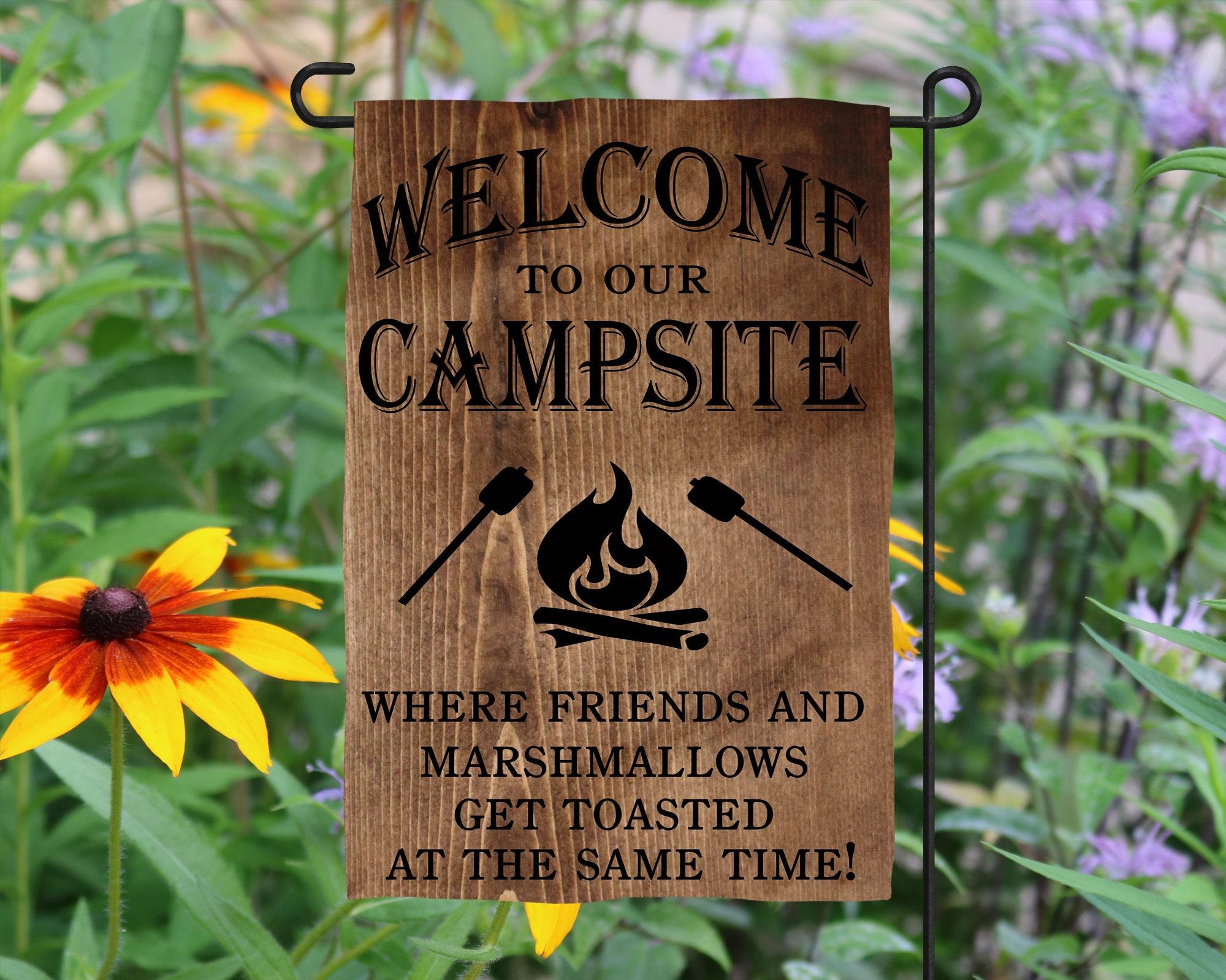 Welcome Campsite Marshmallows Friends Garden Flag Camper Decor ...