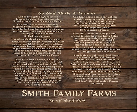 God Made A Farmer Farm Name By Paul Harvey Personalized Name Etsy