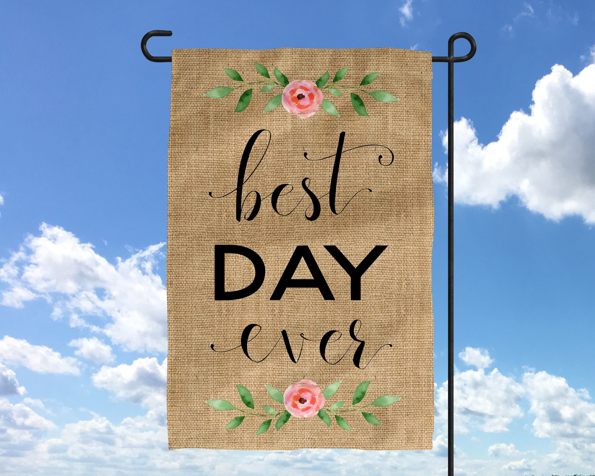 Best Day Ever Wedding Decor Sign Country Chic Garden Flag