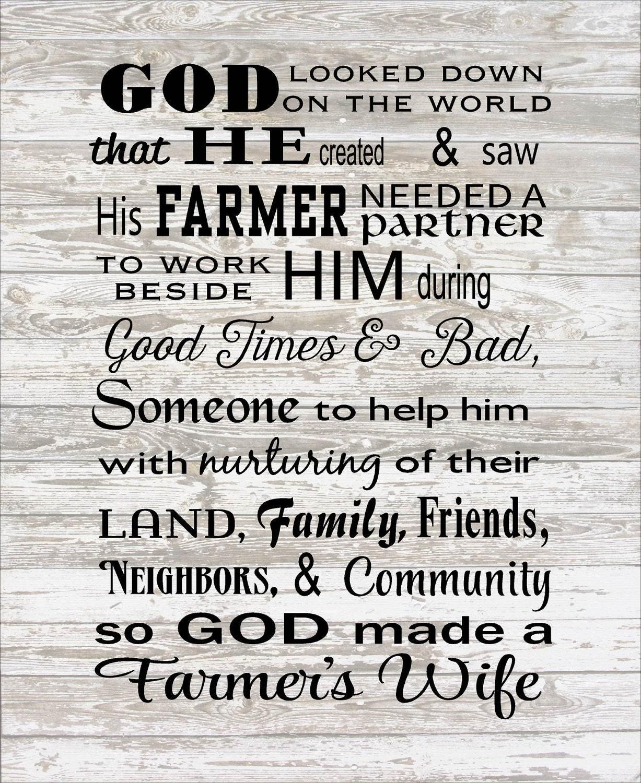 God Made A Farmer Wife Wood Sign Canvas Wall Art Or Photo Clip