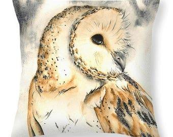 Owl Cushion from Original Artwork by Harriet Lacey - Faux Suede, Owl Cushion, Owl Art, Barn Owl Art, Owl Pillow, Christmas Gift Idea