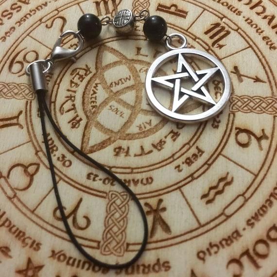 Witches Protection Pentagram Bag/Phone Charm, Bag Charm, Purse Charm