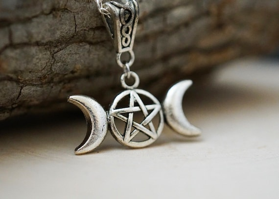 Triple Moon Necklace, Wiccan Necklace, Triple Goddess Necklace, Pagan Jewelry