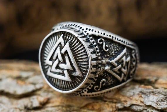 Mens Valknut Ring, Heathen Ring, Pagan Ring,