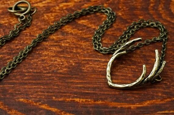 Bronze Chain Antler Necklace