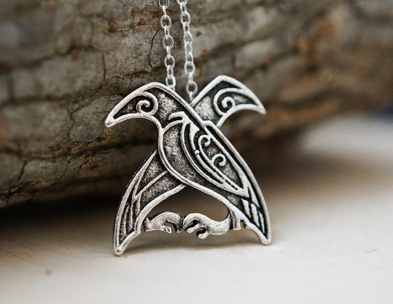 Odins Raven, Hugin and Munin, Norse necklace, Nordic necklace, Pagan necklace