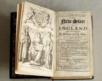 17th Century Antiquarian Hardback Book - The New State of England Under Their Majesties King William & Queen Mary in 3 Parts 1694 (rebound)