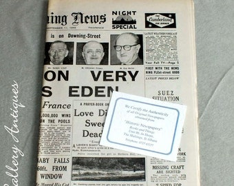 Vintage Evening News Newspaper Night Special from Tuesday September 11 1956 Headline Suez Situation Very Grave, Says Eden - memorabilia