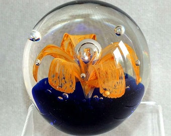 Large Vintage Chinese Orange Flower / Fountain with Bubbles Cobalt Blue Base Round Art Glass Paperweight c.1990's (ref: 5006)