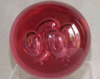 Large and Heavy Vintage Four Bubbles Pink Art Glass Paperweight c.1990's (ref: 5006)