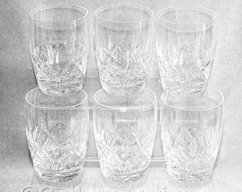 "Six Vintage Stuart Crystal Glengarry Pattern Crystal Cut Glass 10oz Barrel Shape Flat Tumblers 4"" Tall Signed c.1980's (ref: H150)"