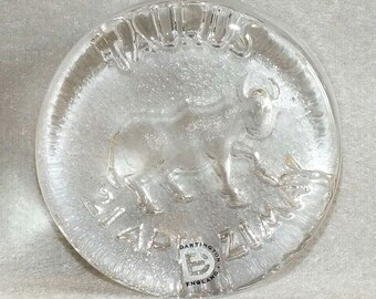 Vintage Dartington Crystal Glass Taurus Zodiac Sign - The Bull Round Paperweight c.1970's