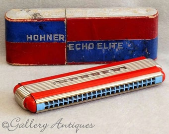 Vintage Art Deco Hohner Echo Elite Tremolo Harmonica C + G Made in Germany with Original Cardboard Case c.1930's musical instruments