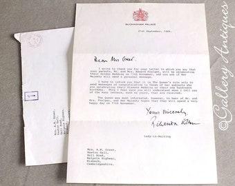 Vintage 1989 Letter from Buckingham Palace Signed by Lady in Waiting Richenda Elton with Original Envelope Royal Family memorabilia Ephemera