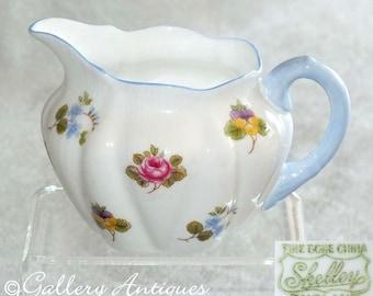 Vintage Shelley China Rose Pansy Forget Me Nots pattern Dainty Shape Creamer milk jug c.1940's Design No 13424