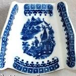Antique 18th Century Caughley Blue & White Fisherman Pattern Porcelain Asparagus server Dish c.1780