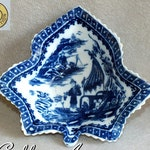 Antique 18th Century Caughley Leaf Pickle Dish in the Blue & White Fisherman Pattern c.1785 Grice Collection