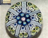 Vintage Strathearn Millefiori with 7 Latticino Spoke Art Glass Paperweight P8 c.1960s 1-1-2 Formation
