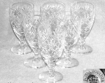 """Six Vintage Royal Doulton Georgian Pattern Crystal Cut Glass Sherry Glasses 4 3/8"""" Tall Signed c.1990s"""