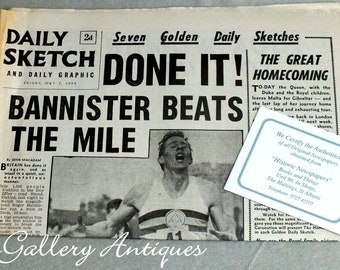 Vintage Daily Sketch Newspaper from Friday May 7 1954 - Headline Done It! Bannister Beats The Mile - world record memorabilia (ref: 5011)