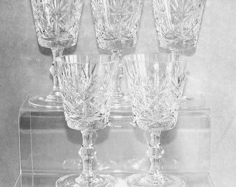 Five Vintage Crystal Cut Wine Glasses Fan, Vertical and Cross Design Disc Stem c.1980's (ref: H150)