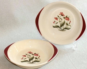 Pair of Vintage Wedgwood Mayfield Ruby Pattern Oval Shallow Fruit Dishes / Bowls c.1960's (ref: 3093)