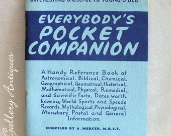 Vintage Everybody's Pocket Companion Booklet Printed / Issued in 1957 reference book for young and old