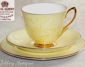 Vintage Royal Albert Gossamer Pattern marbled Yellow tea Trio 1st Quality c.1950s teacup saucer side plate