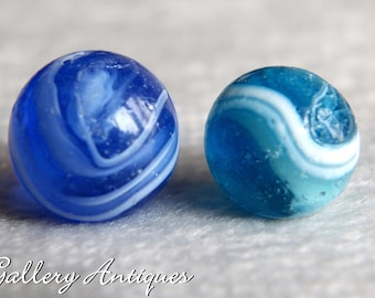 Pair of Vintage Japanese Transitional Blue & White Swirl Glass Marbles c.1960s