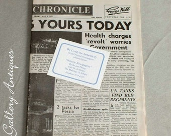 Vintage News Chronicle Newspaper from Friday May 4 1951 - Headline The Festival is Yours Today - Festival of Britain memorabilia (ref: 5011)