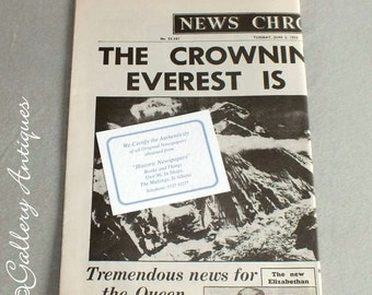 Vintage News Chronicle Newspaper from Tuesday June 2 1953 - Headline The Crowning Glory Everest is Climbed - memorabilia (ref: 5011)